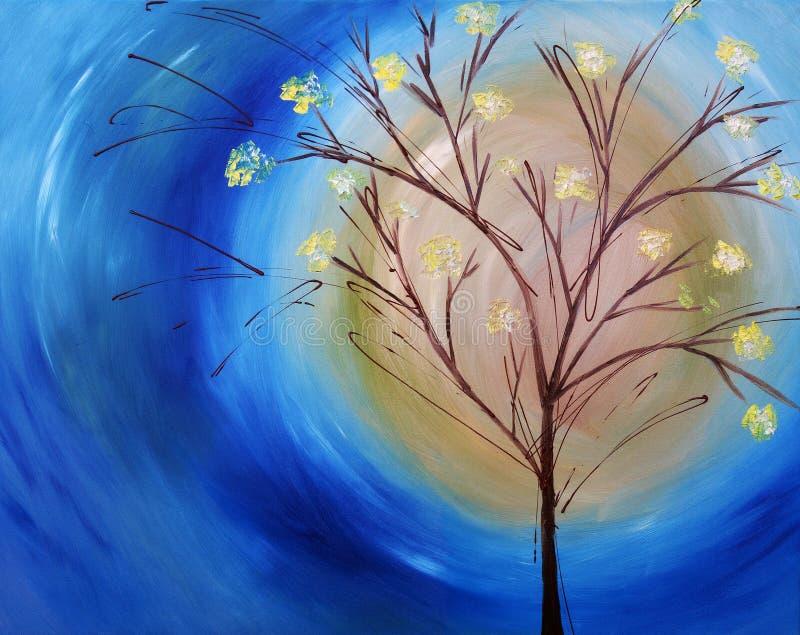 Pittura a olio dell'albero contro cielo blu illustrazione vettoriale