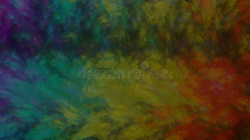 Pittura a olio della tela del fondo di serie dell'arcobaleno illustrazione di stock
