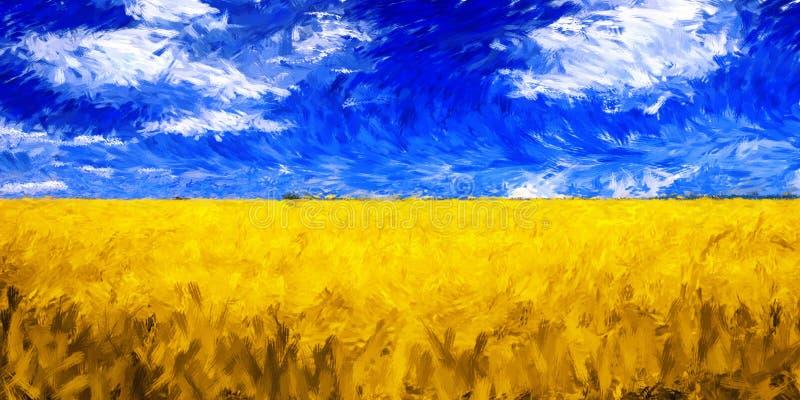 Pittura a olio di impressionismo del grano del campo del paesaggio fotografie stock libere da diritti