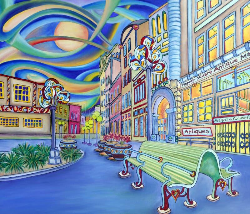 Pittura a olio di Seattle del centro. Città moderna. illustrazione di stock