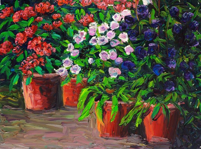 Pittura a olio - fiori di fioritura royalty illustrazione gratis
