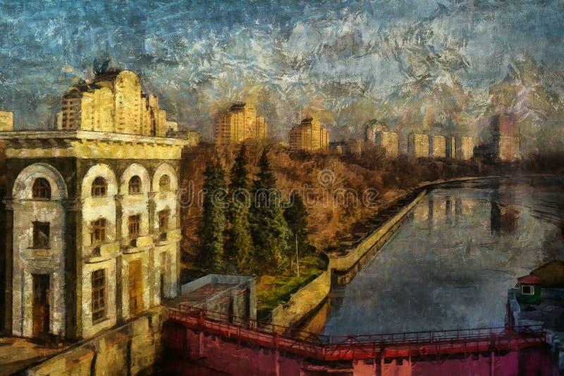 Pittura a olio La vista al fiume nella città illustrazione di stock