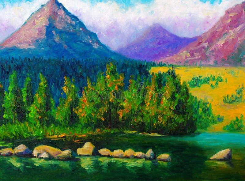 Pittura a olio - paesaggio illustrazione vettoriale