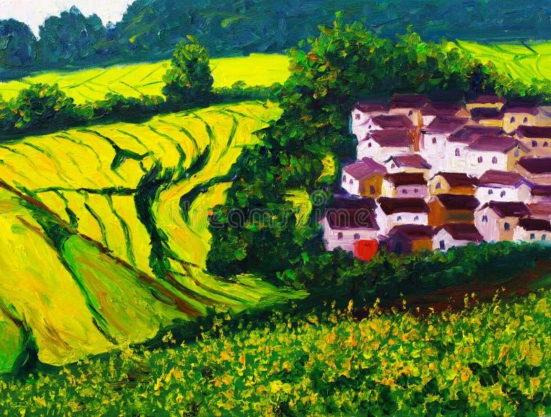 Pittura a olio - paesaggio illustrazione di stock