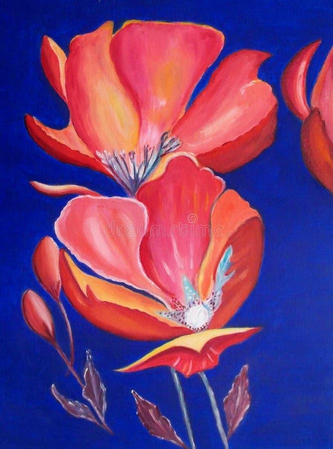 Pittura a olio: papaveri rossi luminosi illustrazione di stock