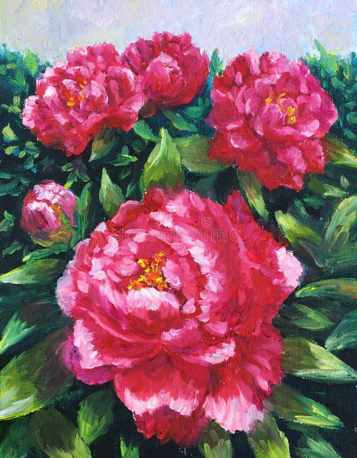 Pittura a olio - Peony di fioritura illustrazione vettoriale
