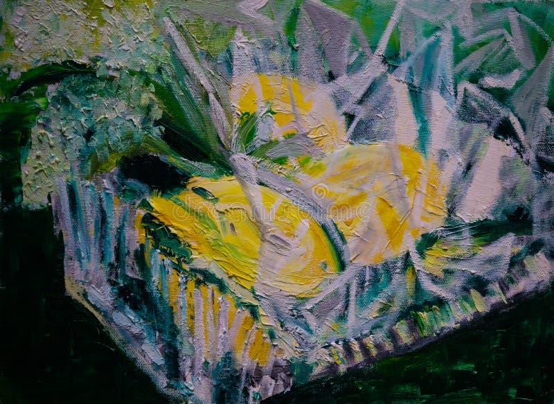 Pittura a olio sottratta, limoni in ciotola di vetro quadrata, imballata nel cellofan fotografia stock libera da diritti