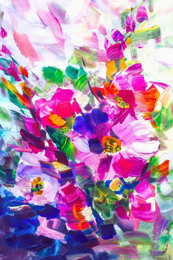 Pittura a olio, stile di impressionismo, pittura del fiore, ancora painti royalty illustrazione gratis