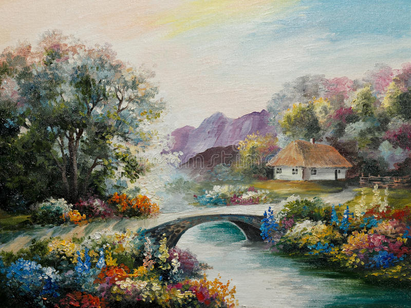 Pittura a olio su tela - casa dell'Ucraina nella foresta illustrazione di stock