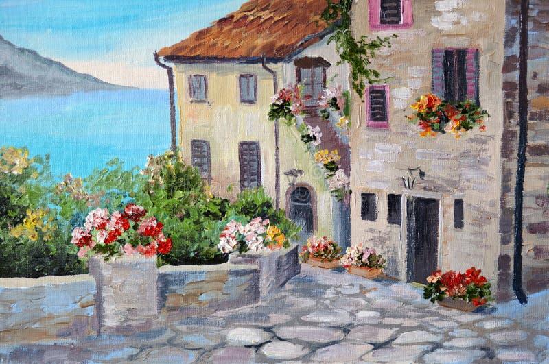 Pittura a olio su tela dell'belle case vicino al mare illustrazione vettoriale