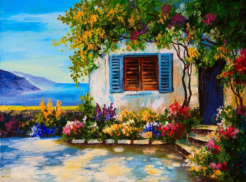 Pittura a olio su tela dell'belle case vicino al mare royalty illustrazione gratis