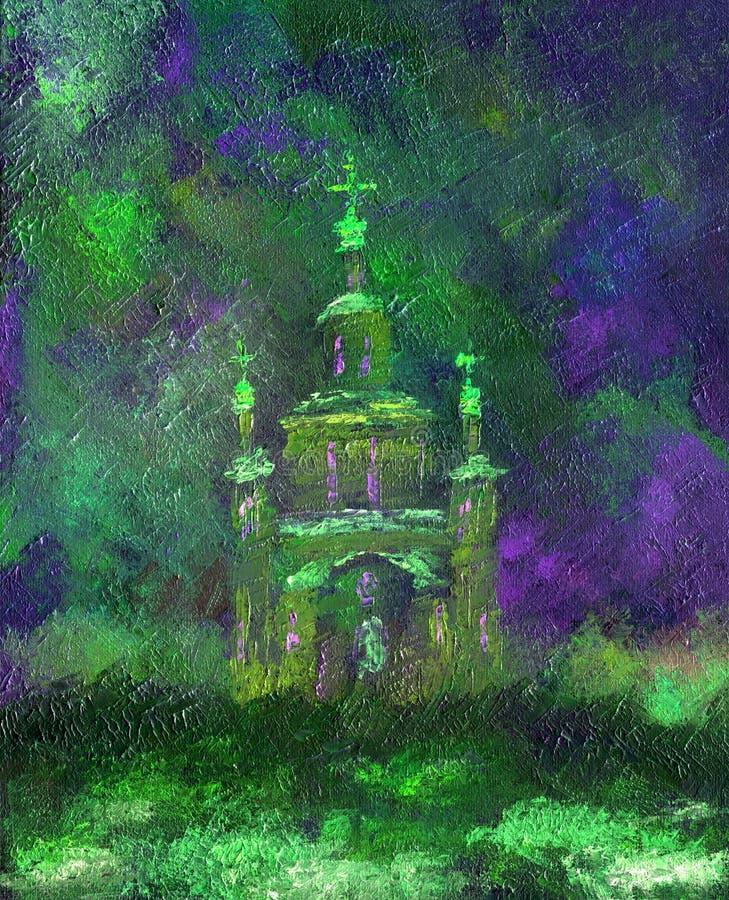 Pittura a olio su tela di canapa Bella chiesa alla notte illustrazione di stock