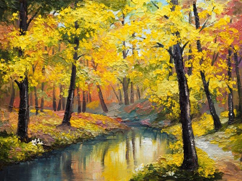 Pittura a olio su tela - foresta di autunno illustrazione vettoriale
