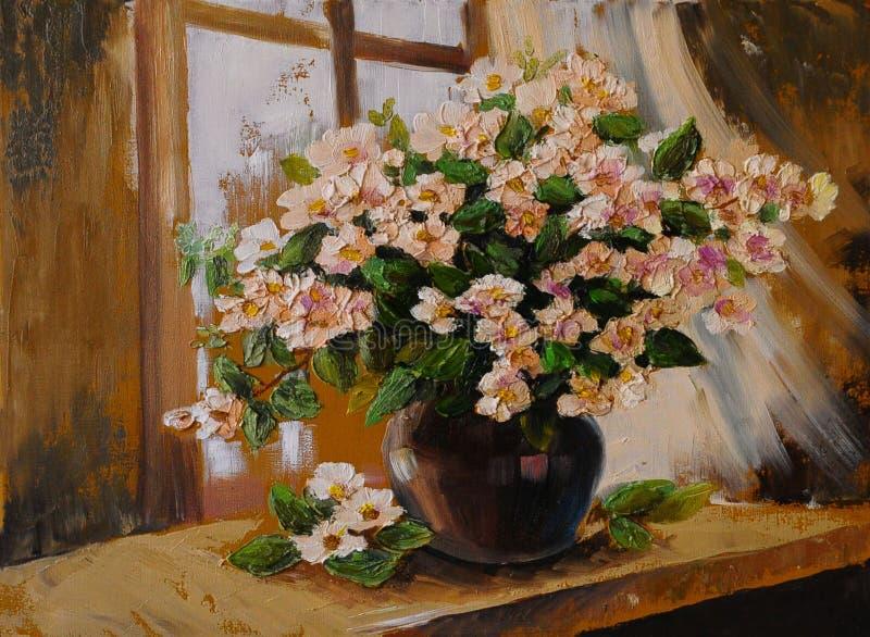 Pittura a olio su tela - la natura morta fiorisce sulla tavola, opera d'arte illustrazione di stock