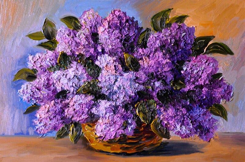 Pittura a olio su tela - un mazzo dei lillà royalty illustrazione gratis