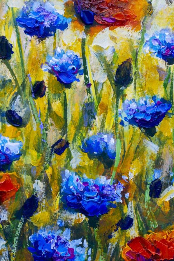 Pittura a olio sul prato moderno del fiore di impressionismo della tela con i papaveri illustrazione di stock