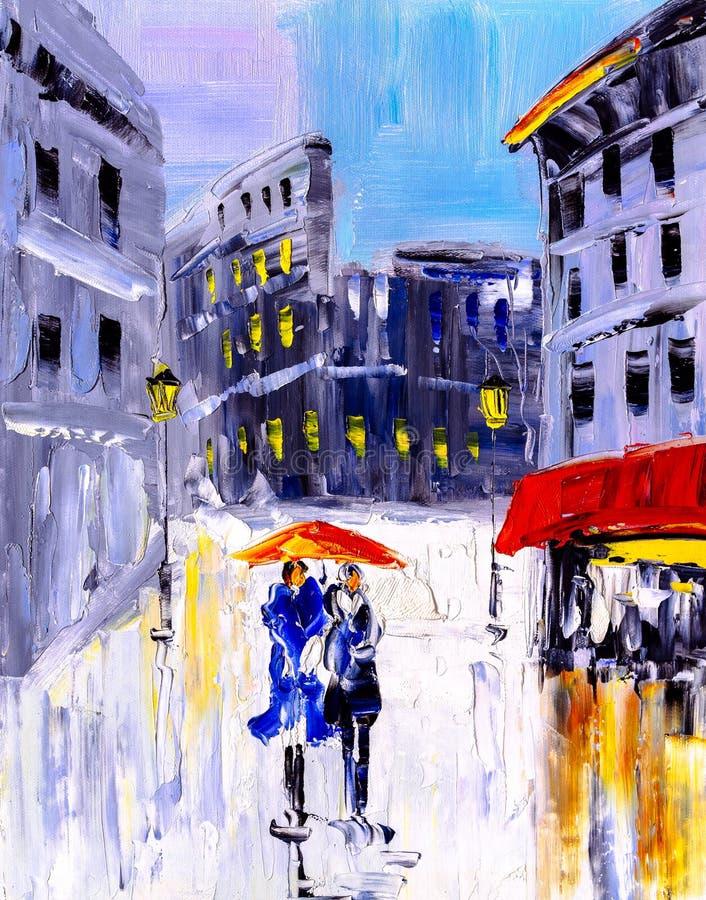 Pittura a olio - vista della città dell'Italia illustrazione vettoriale