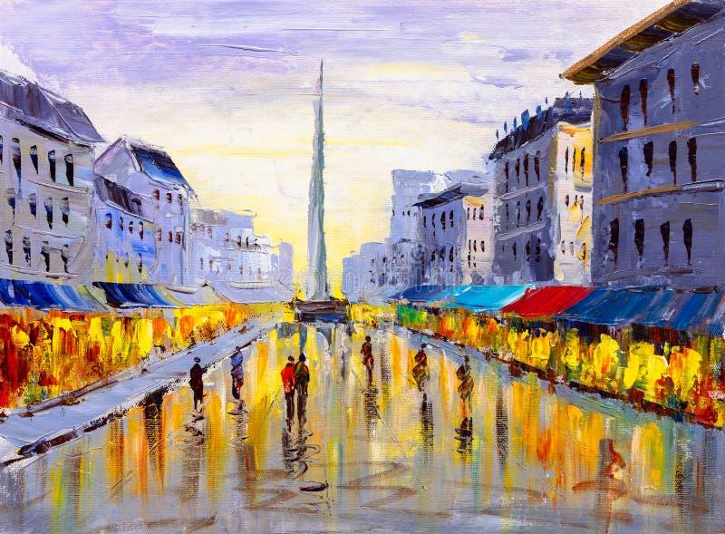 Pittura a olio - vista della città di Europa illustrazione vettoriale