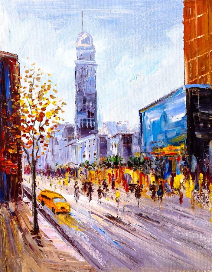 Pittura a olio - vista della città di New York illustrazione vettoriale
