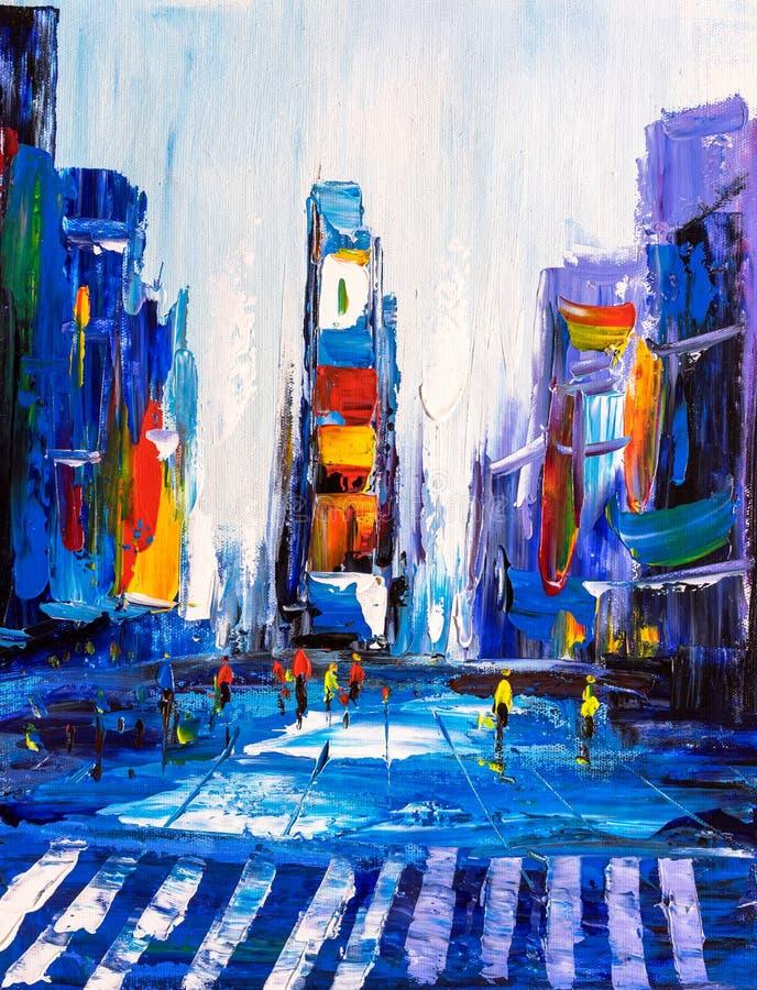 Pittura a olio - vista della città di New York illustrazione di stock