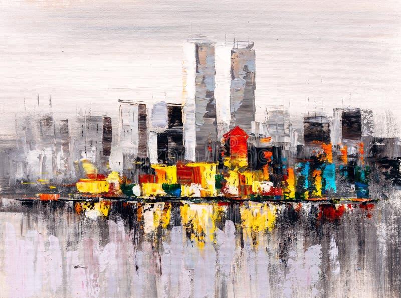 Pittura a olio - vista della città di New York
