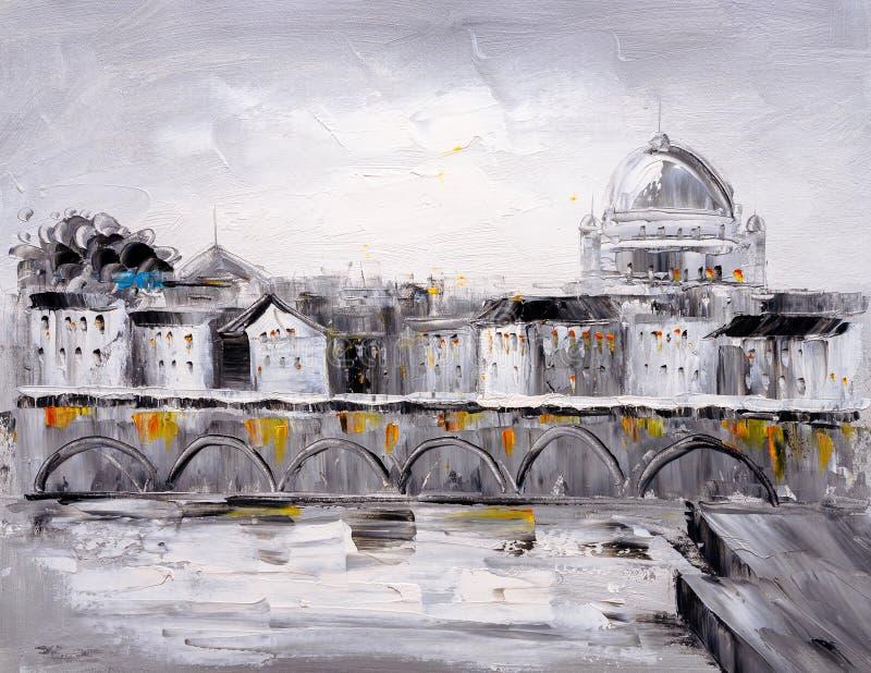 Pittura a olio - vista della città di Praga illustrazione di stock