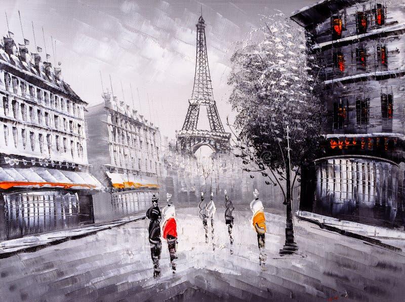 Pittura a olio - vista della via di Parigi illustrazione vettoriale