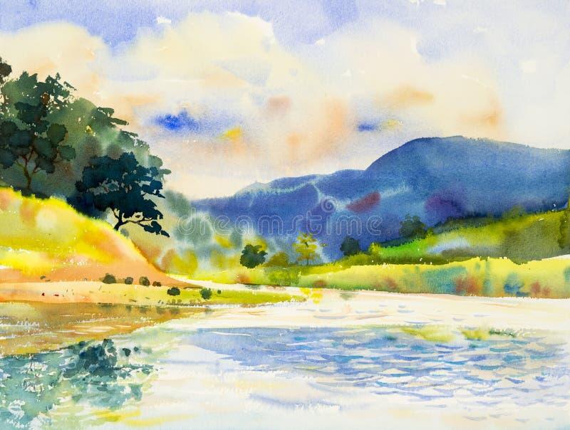 Pittura originale del paesaggio dell'acquerello variopinta del fiume royalty illustrazione gratis