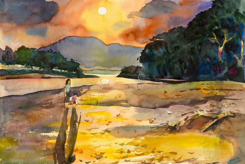 Pittura originale del paesaggio dell'acquerello variopinta della famiglia, della madre e del bambino royalty illustrazione gratis