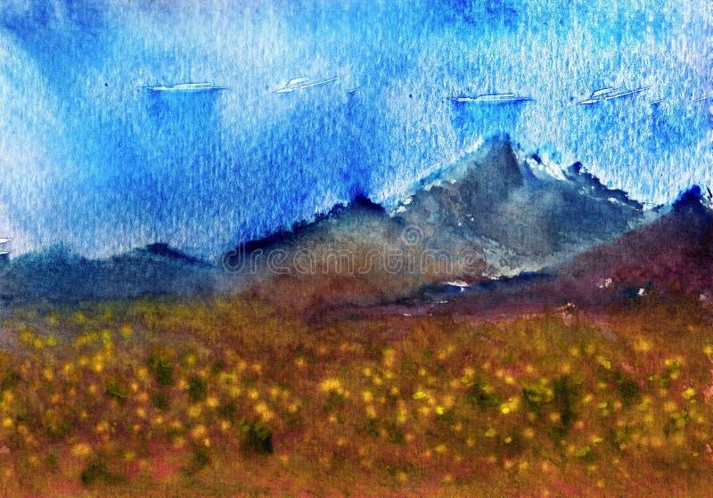 Pittura originale dell'acquerello - piantagione fresca del fiore vicino alle montagne illustrazione di stock