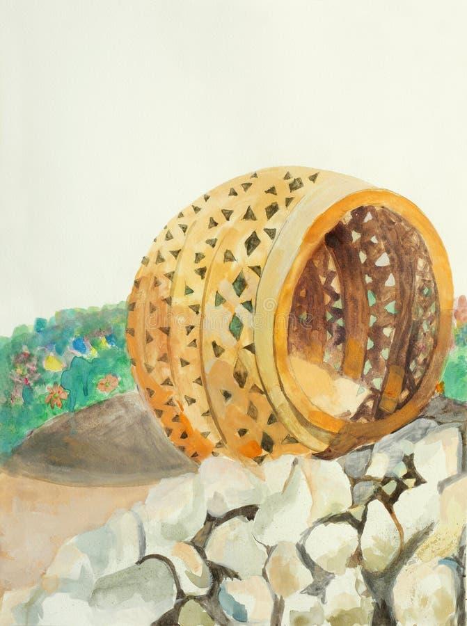 Pittura originale delle terraglie arabe tradizionali illustrazione vettoriale