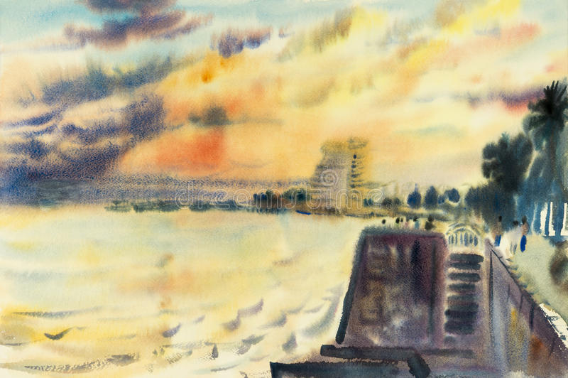 Pittura originale di vista sul mare dell'acquerello variopinta del mare di sera illustrazione vettoriale