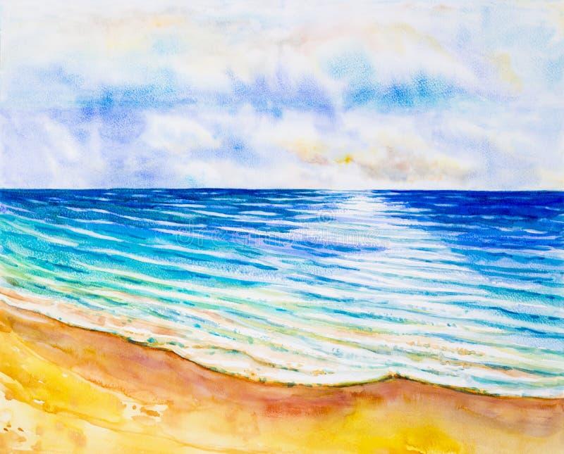 Pittura originale di vista sul mare dell'acquerello variopinta della vista del mare royalty illustrazione gratis