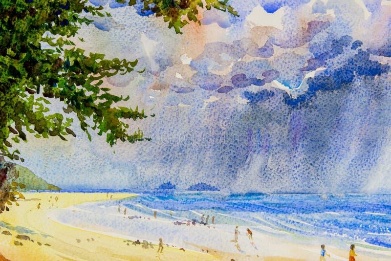 Pittura originale di vista sul mare variopinta delle nuvole di pioggia nel mare illustrazione vettoriale