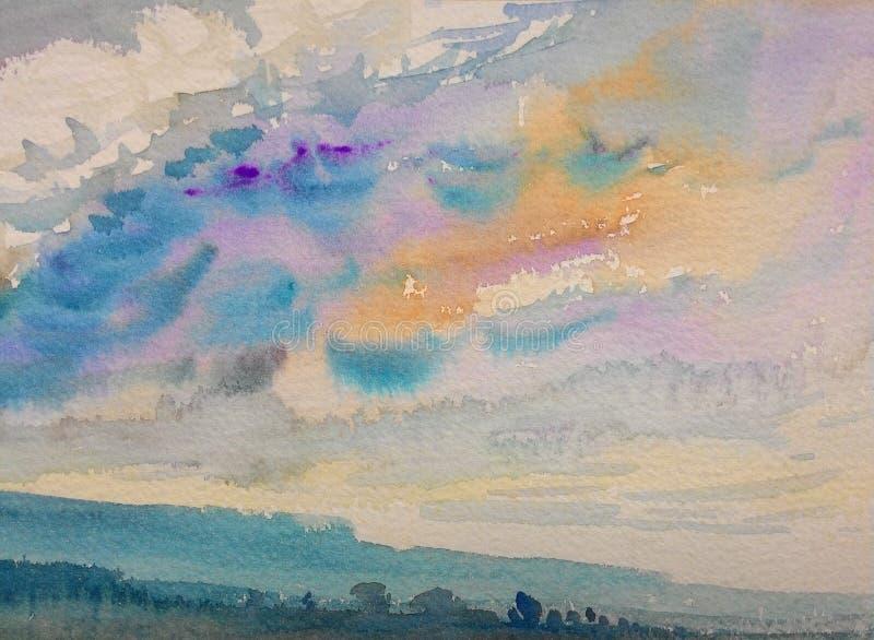 Pittura originale variopinta della montagna e dell'emozione nel fondo della nuvola illustrazione vettoriale