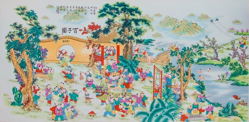 Pittura pastello della porcellana di stile cinese immagini stock libere da diritti