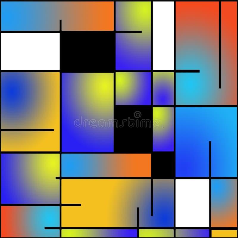 Pittura ripetibile di stile di Mondrian illustrazione vettoriale