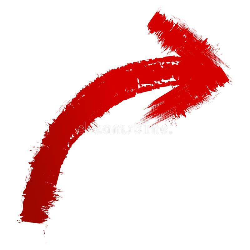 Pittura rossa della freccia a spazzole illustrazione di stock