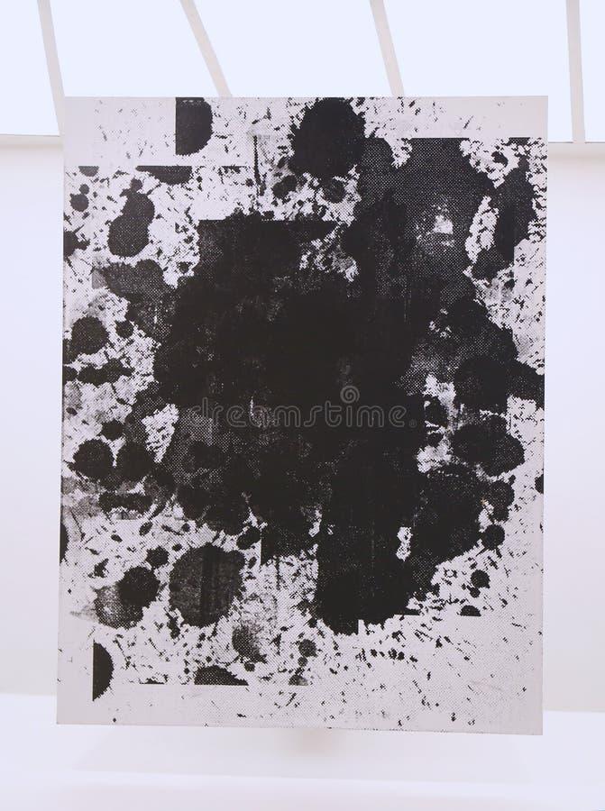 Pittura senza titolo da Christopher Wool su esposizione nel museo Guggenheim di Solomon R di moderno e su arte contemporanea a New immagine stock