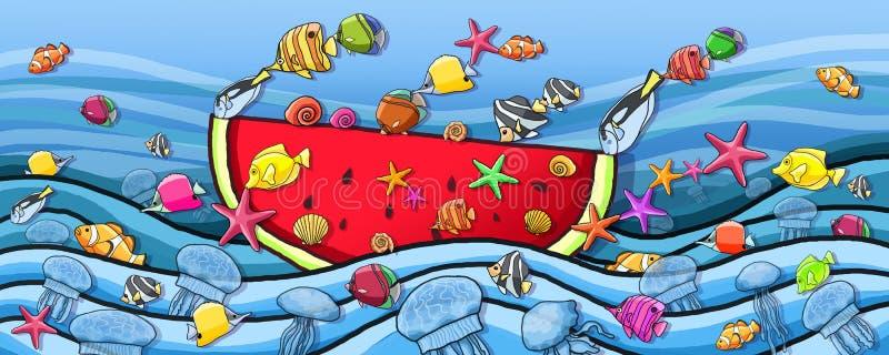 Pittura subacquea del crogiolo di anguria di divertimento del mondo illustrazione di stock