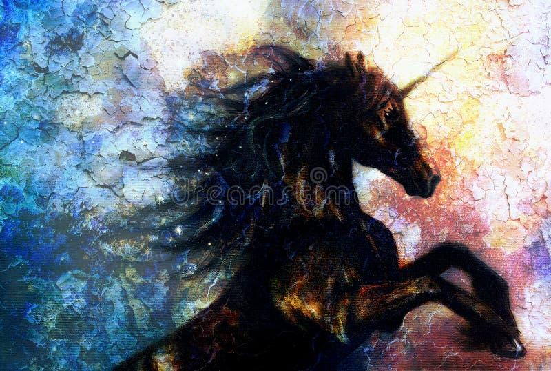 Pittura sulla tela di un dancing nero dell'unicorno nello spazio, effetto del deserto del crepitare royalty illustrazione gratis