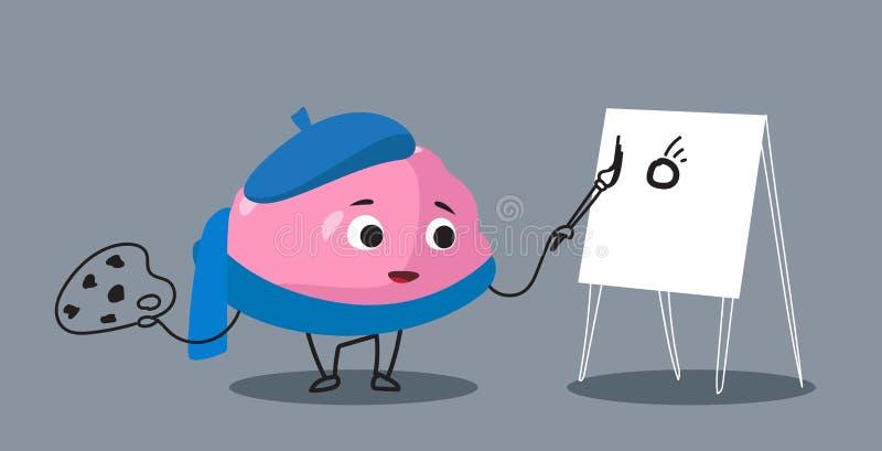 Pittura sveglia del personaggio dei cartoni animati di rosa dell'organo del cervello umano sull'orizzontale di stile di kawaii di illustrazione di stock