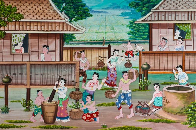Pittura tailandese di arte della parete di stile di vita immagine stock libera da diritti