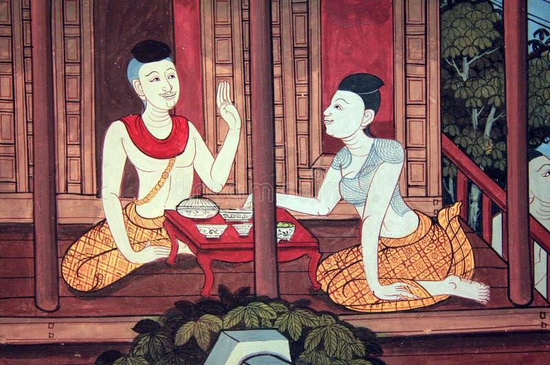 Pittura tailandese - tempio di pho di Wat - Bangkok fotografia stock