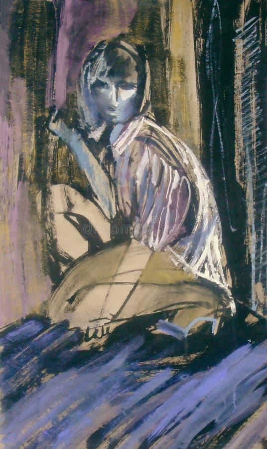 Pittura unica, donna che si siede e che guarda dall'alto in basso la città illustrazione vettoriale