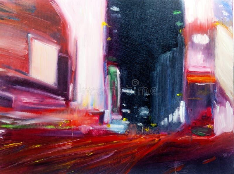 Pittura urbana contemporanea moderna di paesaggio urbano dell'olio dell'estratto fotografie stock