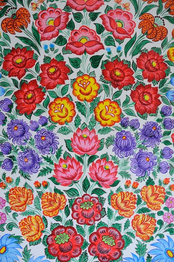 Pitture decorative del fiore variopinto nel villaggio di Zalipie in Polonia royalty illustrazione gratis