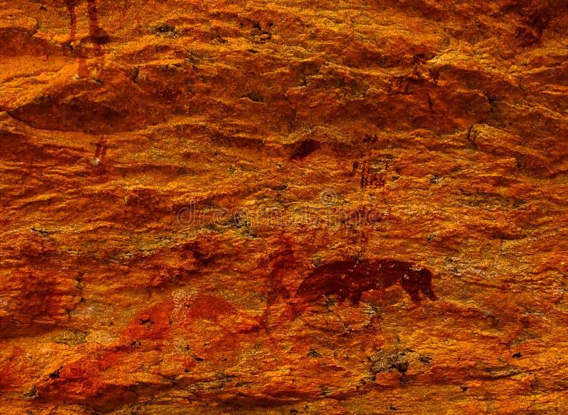 Pitture del boscimano a Rostock - la Namibia fotografia stock