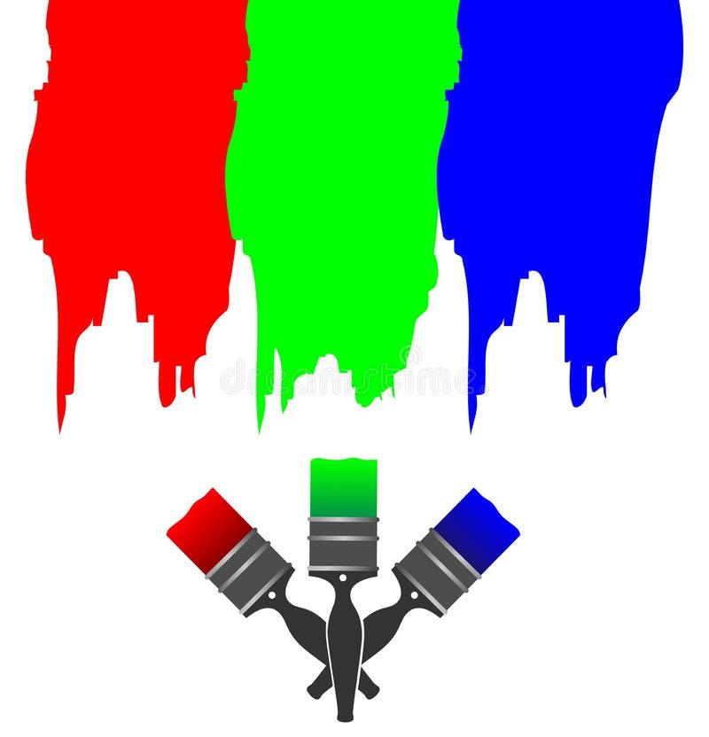 Pitture dell'inchiostro di Rgb illustrazione di stock