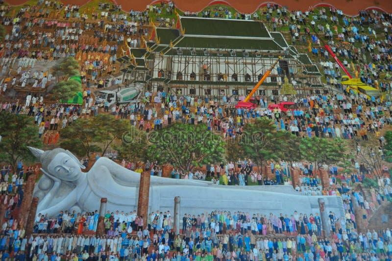 Pitture della statua di Buddha a Wat Khun Inthapramun, Tailandia immagini stock libere da diritti